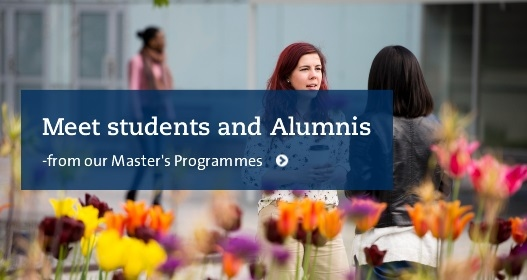Meet students and Alumnis. Pic: students, flowers in front