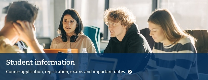 Students, with text: Student information. Course application, registration, exams, important dates