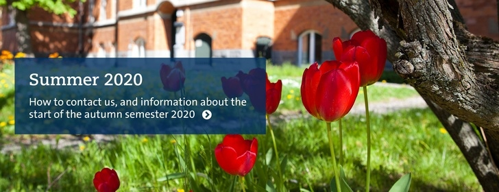Tulips, with text: Summer 2020, how to contact us and info about the start of the autumn semester